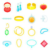 Jewelry items icons set, cartoon style Stock Image