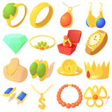 Jewelry items icons set, cartoon style Royalty Free Stock Image