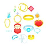 Jewelry items icons set, cartoon style. Jewelry items icons set. Cartoon illustration of 16 jewelry items vector icons for web royalty free illustration