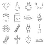 Jewelry items icons set, outline style Royalty Free Stock Photography