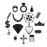 Jewelry items icons set, simple style. Jewelry items icons set. Simple illustration of 16 jewelry items vector icons for web royalty free illustration
