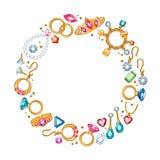 Jewelry items round frame background. Royalty Free Stock Photo