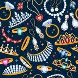 Jewelry items seamless dark background. Royalty Free Stock Image