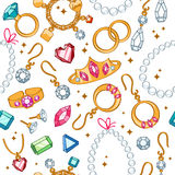 Jewelry items seamless light background. Stock Photography