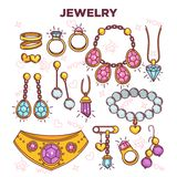 Jewelry items vector flat set isolated on white. Jewelry items vector flat collection isolated on white. Colorful poster of expensive luxury accessories for Stock Image