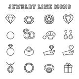 Jewelry line icons Royalty Free Stock Photos