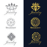 Jewelry logo Crown Diamond and flower vector set and isolate on white background vector set design Royalty Free Stock Photography
