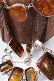 Jewelry made ​​of amber Stock Photos