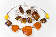 Jewelry made ​​of amber Royalty Free Stock Photography