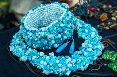 Jewelry made of semiprecious stones. Stock Photo