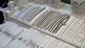 Jewelry made of Silver on the Shop Window stock video