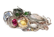 Jewelry made on white seven Stock Images