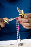 Jewelry making as a hobby #4. Jewelry making and beading in progress Royalty Free Stock Photos