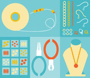 Jewelry Making. A set of jewelry making illustrations including beads, wire, tools, components, and display Royalty Free Stock Images
