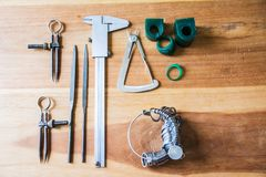 Jewelry Making Tools. On wooden table royalty free stock images