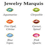 Jewelry Marquis Isolated Objects. Jewelery set with faceting marquis - aquamarine, blue topaz, garnet, spinel, fire opal, citrine, chrysolite and rose quartz on Royalty Free Stock Photos