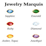 Jewelry Marquis. Isolated Objects. Jewelery set with faceting marquis - diamond, emerald, sapphire, ruby, amethyst, topaz and amber on white background. In the Stock Images