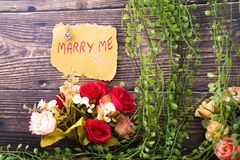 jewelry and marry me message stock images