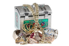 Jewelry metal box Royalty Free Stock Photography
