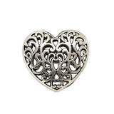 Jewelry metal heart. White background royalty free stock photo
