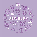 Jewelry minimal outline icons Royalty Free Stock Photography