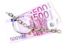 Jewelry on money Stock Photo