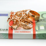 Jewelry and money stock photography