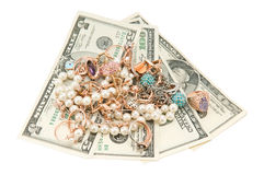 jewelry and money Royalty Free Stock Images