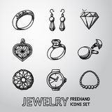 Jewelry monochrome freehand icons set with - rings. And diamonds, watch, earrings, pendant, cuff links, necklace. Vector illustration Royalty Free Stock Images
