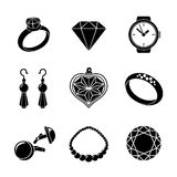 Jewelry monochrome icons set with - rings Royalty Free Stock Photos