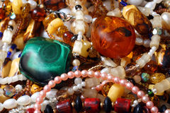 Jewelry necklace and gems Royalty Free Stock Images