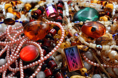 Jewelry necklace and gems Stock Photos