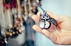 Jewelry necklace watch owl bronze chain Nothing Hill market lond Royalty Free Stock Images