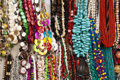 Jewelry - Necklaces. Street market - Souvenirs - Fashion - Accessory - Colorful and various pieces of jewelry - Necklaces Stock Images