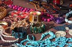 Jewelry necklaces and vintage bracelets for sale at market Stock Images