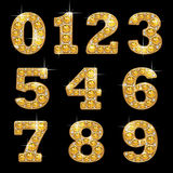 Jewelry numbers. Fashion glamour jewelry numbers for design on black background Royalty Free Stock Photography