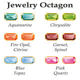 Jewelry Octagon Isolated Objects. Jewelery set with faceting octagon - aquamarine, blue topaz, garnet, spinel, fire opal, citrine, chrysolite and rose quartz on Stock Photography