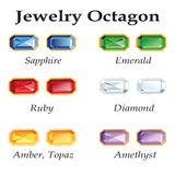 Jewelry Octagon. Isolated Objects. Jewelery set with faceting octagon - diamond, emerald, sapphire, ruby, amethyst, topaz and amber on white background. In the Stock Images