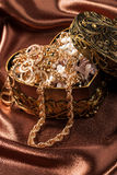 Jewelry and other decorations in decorative box heart shape Royalty Free Stock Photography