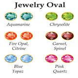 Jewelry Oval Isolated Objects. Jewelery set with faceting oval - aquamarine, blue topaz, garnet, spinel, fire opal, citrine, chrysolite and rose quartz on a Royalty Free Stock Photo