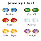 Jewelry Oval. Isolated Objects. Jewelery set with faceting oval - diamond, emerald, sapphire, ruby, amethyst, topaz and amber on white background. In the Royalty Free Stock Image