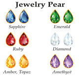 Jewelry Pear. Isolated Objects. Jewelery set with faceting pear - diamond, emerald, sapphire, ruby, amethyst, topaz and amber on white background. In the Stock Photo