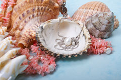 Jewelry pearls and corals Royalty Free Stock Images