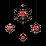 Jewelry pendants. Elegant gold jewelry, set of decorative pendants isolated on black Royalty Free Stock Photography