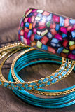 Jewelry, perl and bracelet in composition Royalty Free Stock Photo