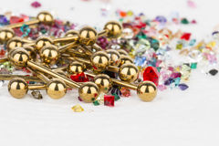 Jewelry for piercing and natural gemstones. stock photos