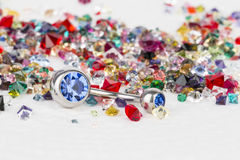 Jewelry for piercing and natural gemstones. Stock Photography