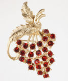 Jewelry Pin with Red Grapes royalty free stock images