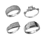 Jewelry platinum rings with brilliants stock photos