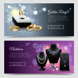Jewelry Realistic Banners Royalty Free Stock Images